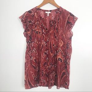 Joie vibrant red Sheer Silk Top. SZ S